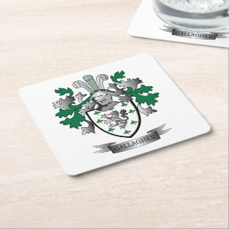Gallagher Coat of Arms Square Paper Coaster
