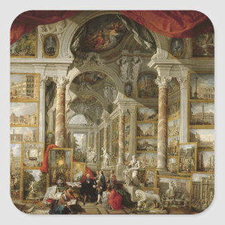 Gallery with Views of Modern Rome, 1759 Square Sticker
