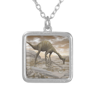 Gallimimus dinosaur - 3D render Silver Plated Necklace