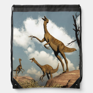 Gallimimus dinosaurs - 3D render Drawstring Bag