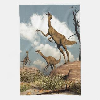 Gallimimus dinosaurs - 3D render Kitchen Towel