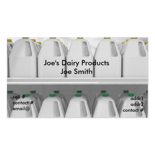 Gallons of milk on grocery shelf business card