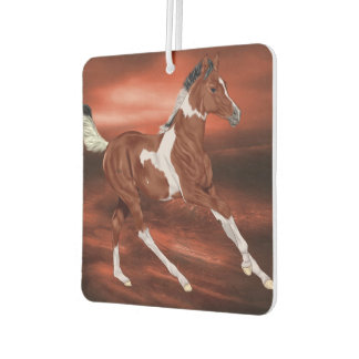 Galloping Bay and White Paint Horse Foal Air Freshener