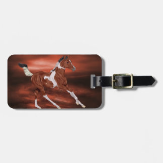 Galloping Bay and White Paint Horse Foal Luggage Tag