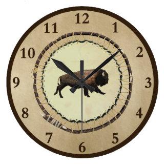 Galloping Bison Large Clock