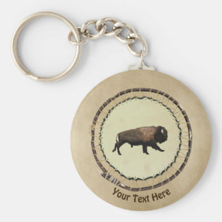 Galloping Bison On Old Paper Keychain