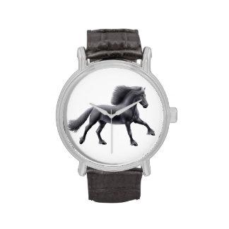 Galloping Black Friesian Horse Watch