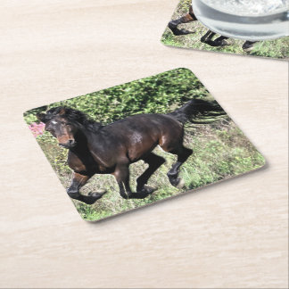 Galloping Chestnut Horse Square Paper Coaster