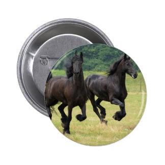 Galloping Friesian Horses Button