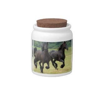 Galloping Friesian Horses Candy Jar