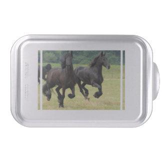 Galloping Friesian Horses Cake Pan