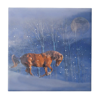 Galloping Horse and Moon in the Snow Art Tile