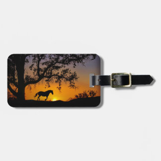 Galloping Horse and Oak Tree Sunset Luggage Tag