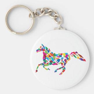 Galloping Horse Basic Round Button Keychain