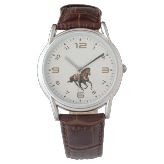 galloping horse brown leather watch