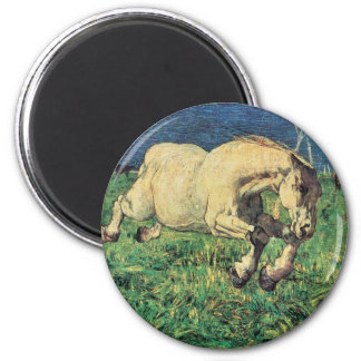 Galloping Horse by Giovanni Segantini, Vintage Art 2 Inch Round Magnet