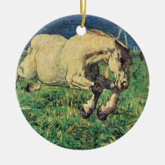 Galloping Horse by Giovanni Segantini, Vintage Art Round Ceramic Ornament