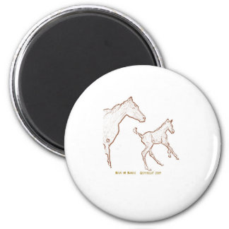Galloping Horses: Mare and Foal 2 Inch Round Magnet