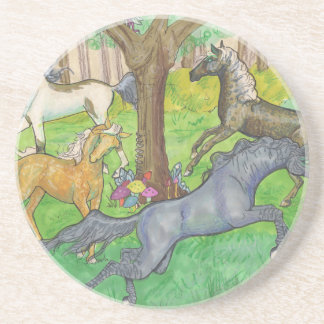 Galloping Mustang Horses in Forest Trees Ponies Coaster