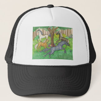 Galloping Mustang Horses in Forest Trees Ponies Trucker Hat