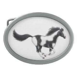 Galloping Paint Horse Belt Buckle