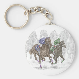 Galloping Race Horses Basic Round Button Keychain
