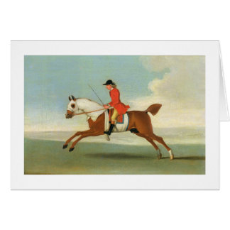 Galloping Racehorse and mounted Jockey in Red (oil Card