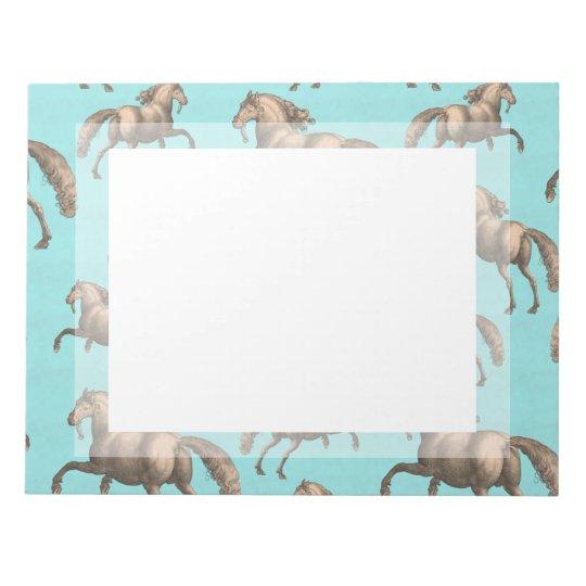 Galloping Spanish Stallions Aqua Background Notepad