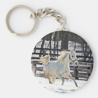 Galloping White Horse Keychain