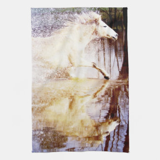 Galloping White Water Horse Kitchen Towel