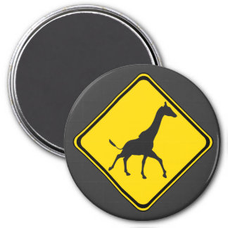 Galopping Giraffes Xing! 3 Inch Round Magnet