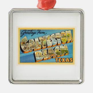 Galveston Beach Texas TX Vintage Travel Souvenir Metal Ornament