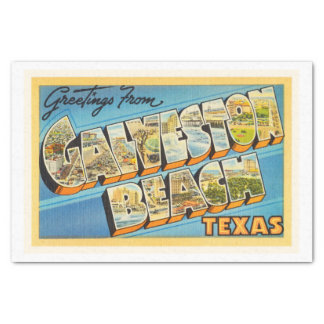 Galveston Beach Texas TX Vintage Travel Souvenir Tissue Paper