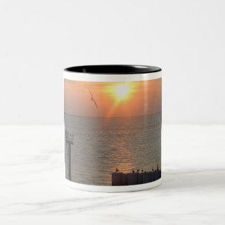 Galveston Gulf Sunset Birds Two-Tone Coffee Mug