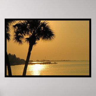 Galveston Sunset over 61st Street Poster