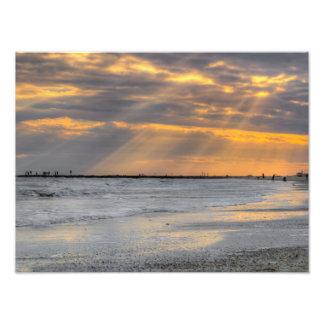 Galveston Sunset Rays Photo Print
