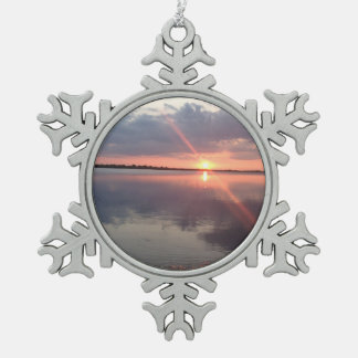 Galveston Sunset Snowflake Ornament