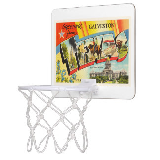 Galveston Texas TX Old Vintage Travel Souvenir Mini Basketball Hoop