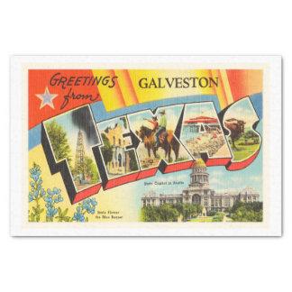 Galveston Texas TX Old Vintage Travel Souvenir Tissue Paper