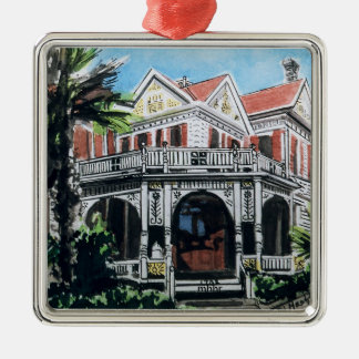 Galveston Watercolor, 1876 F. Beissner House Metal Ornament