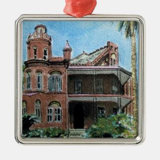 Galveston Watercolor, 1886 Landes-McDonough House Metal Ornament