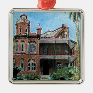 Galveston Watercolor, 1886 Landes-McDonough House Silver-Colored Square Ornament