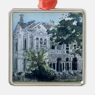 Galveston Watercolor, 1887 Jacob Sonnethiel House Metal Ornament