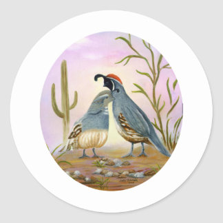 Gambel Quails Classic Round Sticker