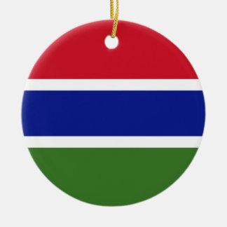 Gambia National World Flag Ceramic Ornament