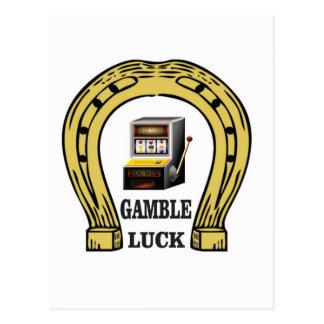 Gamble luck slots postcard