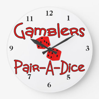 Gamblers Pair A Dice Large Clock