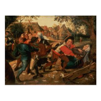 Gamblers Quarrelling Postcard