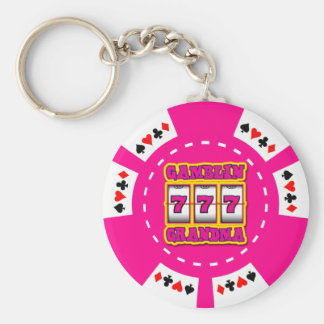 GAMBLIN GRANDMA POKER CHIP KEYCHAIN