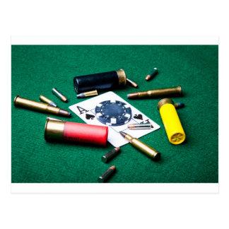 Gambling cards and bullets postcard